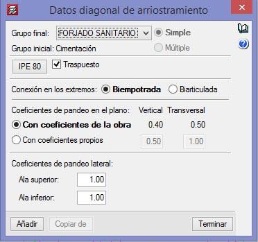 DATOS DIAGONAL DE ARRIOSTRAMIENTO