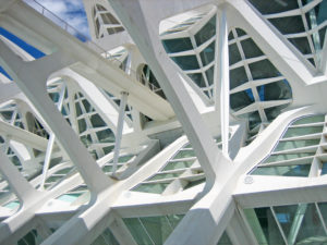 Structural details of a contemporary architecture with white reinforced concrete,steel and glass
