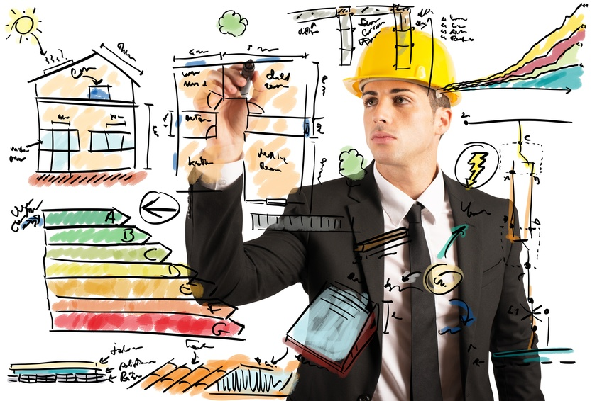 Energetic project draft of a construction engineer